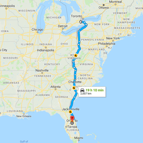 Road Map Of Florida And Georgia.Road Trip From Ontario To Florida Travel Itinerary Rough Draft