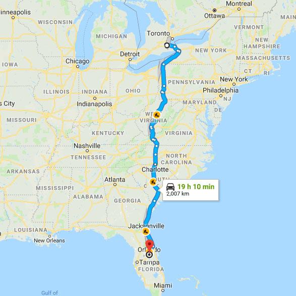 Florida trip route